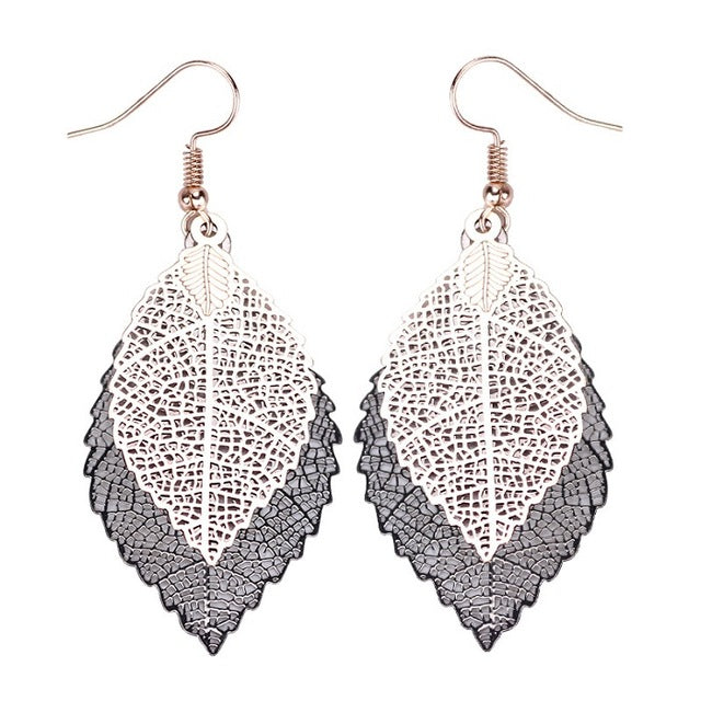 Double color Leaf Earrings