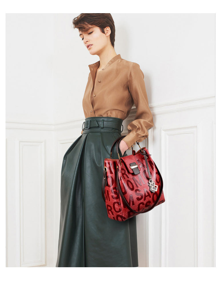 2 Piece Leather Bags Set