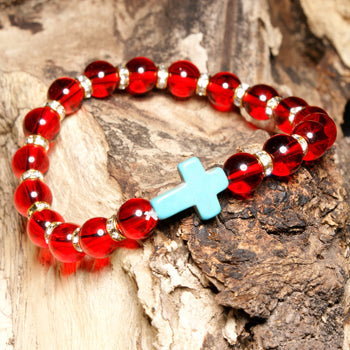 Amazonite  Beaded Cross Bracelets