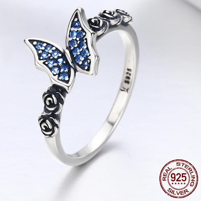 Silver Butterfly Flower Ring