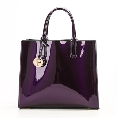 3 Piece Patent Leather Bag Set