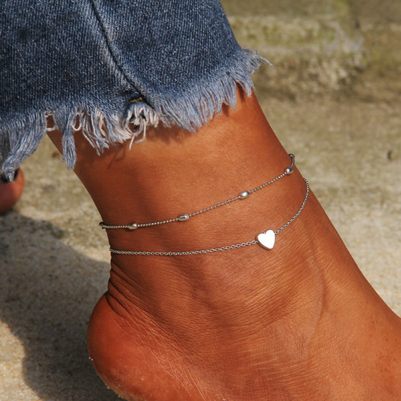 Bead and Heart anklet