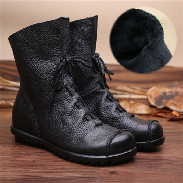 Genuine Leather Flat Boots