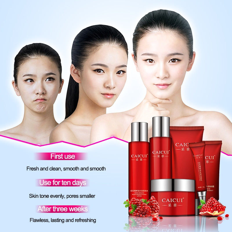 5 Piece Red Pomegranate Face Set