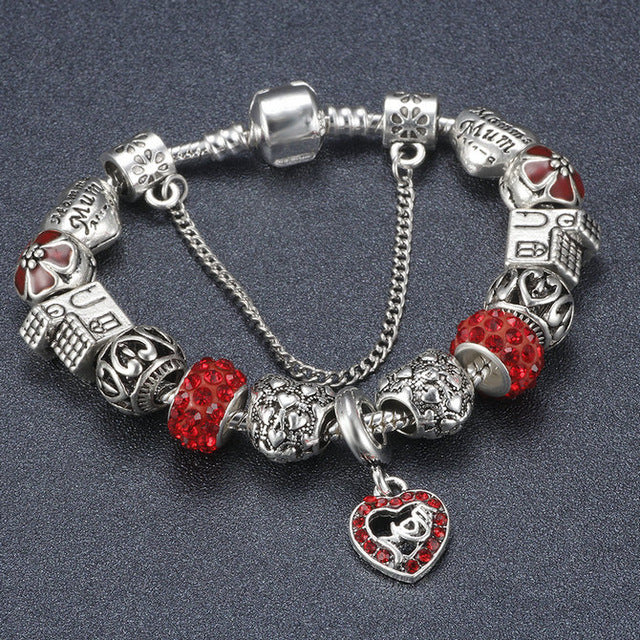 Antique I LOVE FAMILY Charm Bracelets