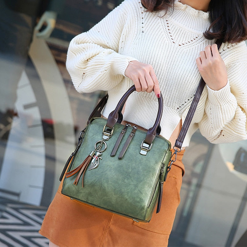 Vintage Leather Tassel Bag