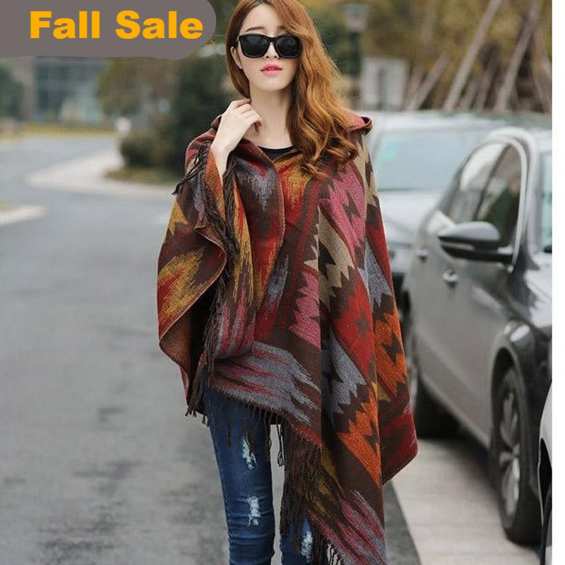 Hooded Poncho Style Scarf