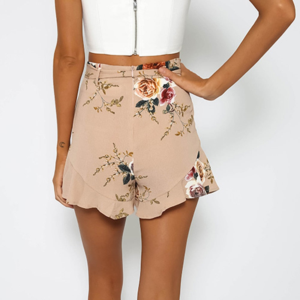 Floral High Waist Paper Bag Shorts