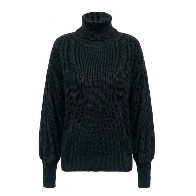 Retro Turtleneck Knitted Sweatshirt