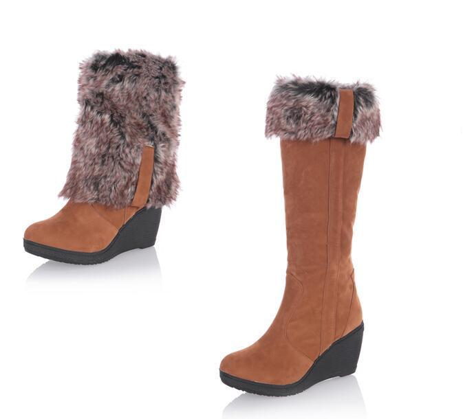 Fur Wedge Boots