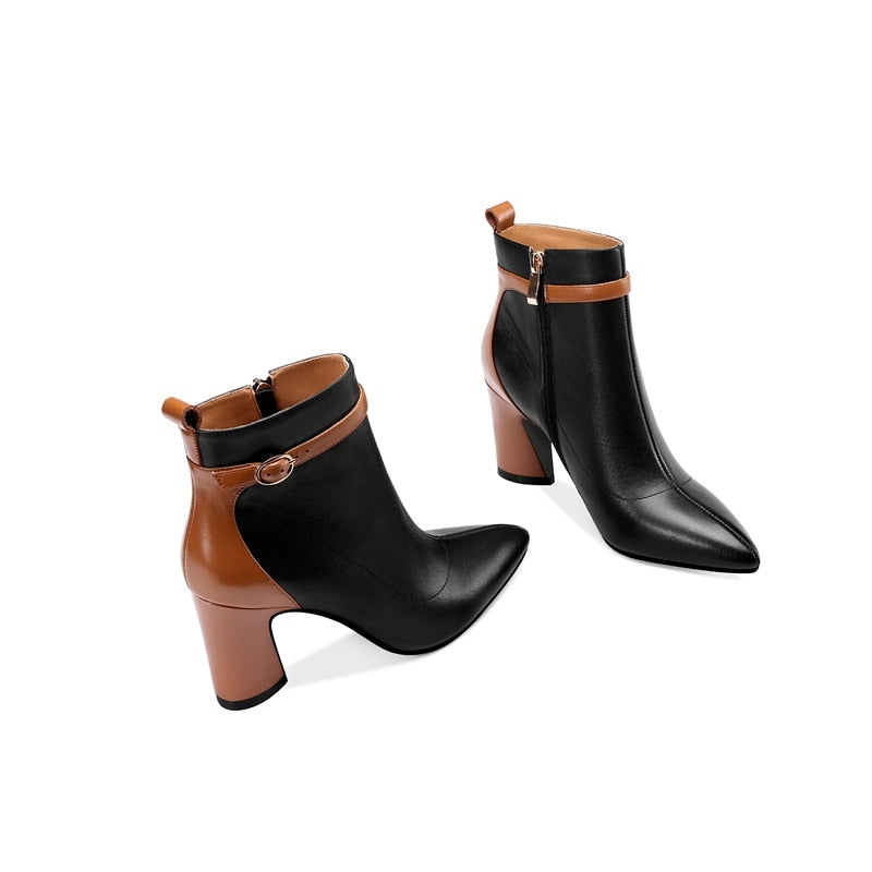 2 Tone Genuine Leather Ankle Boots