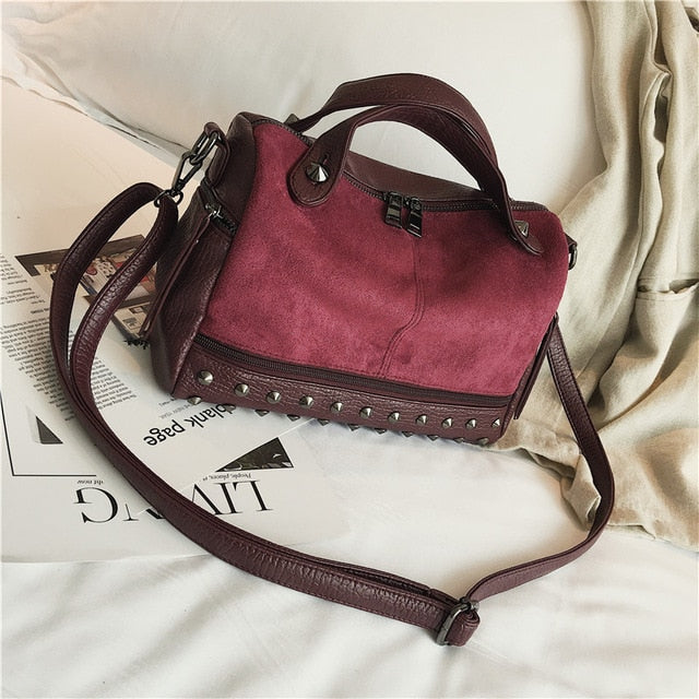 Suede Rivet Bag