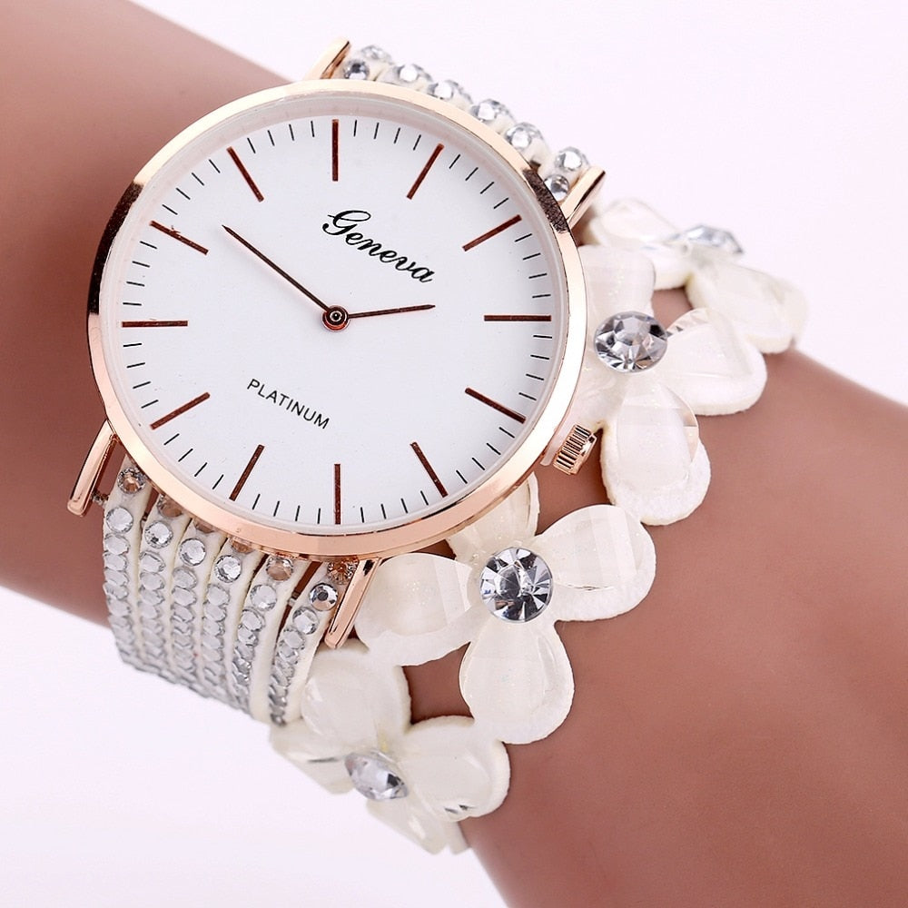 Crystal Flower Band Watch
