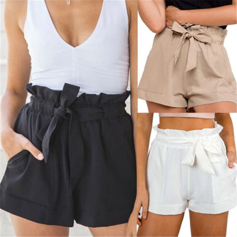 Tie Belt Paper-Bag Shorts