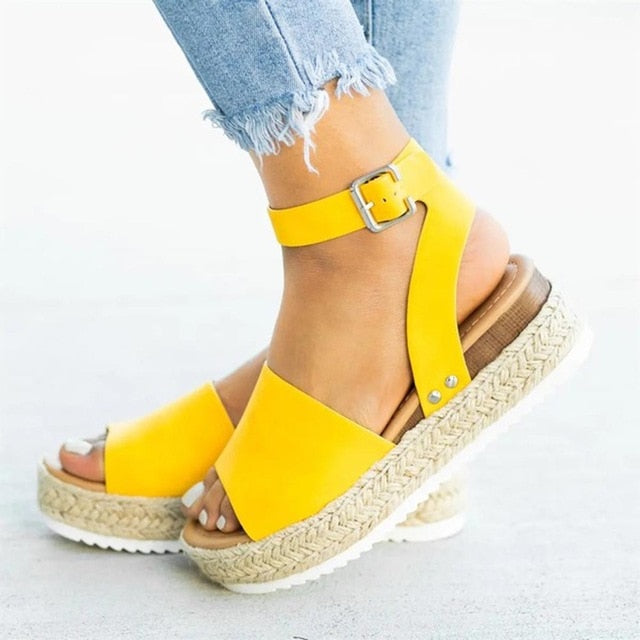 Ladies Leather Wedge Sandals
