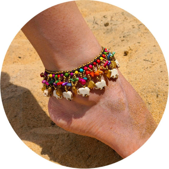Stone and beads Boho Anklets