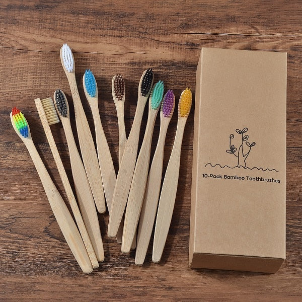 10 Piece Bamboo Toothbrush Set
