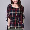 Long Sleeve Loose Plaid Blouse