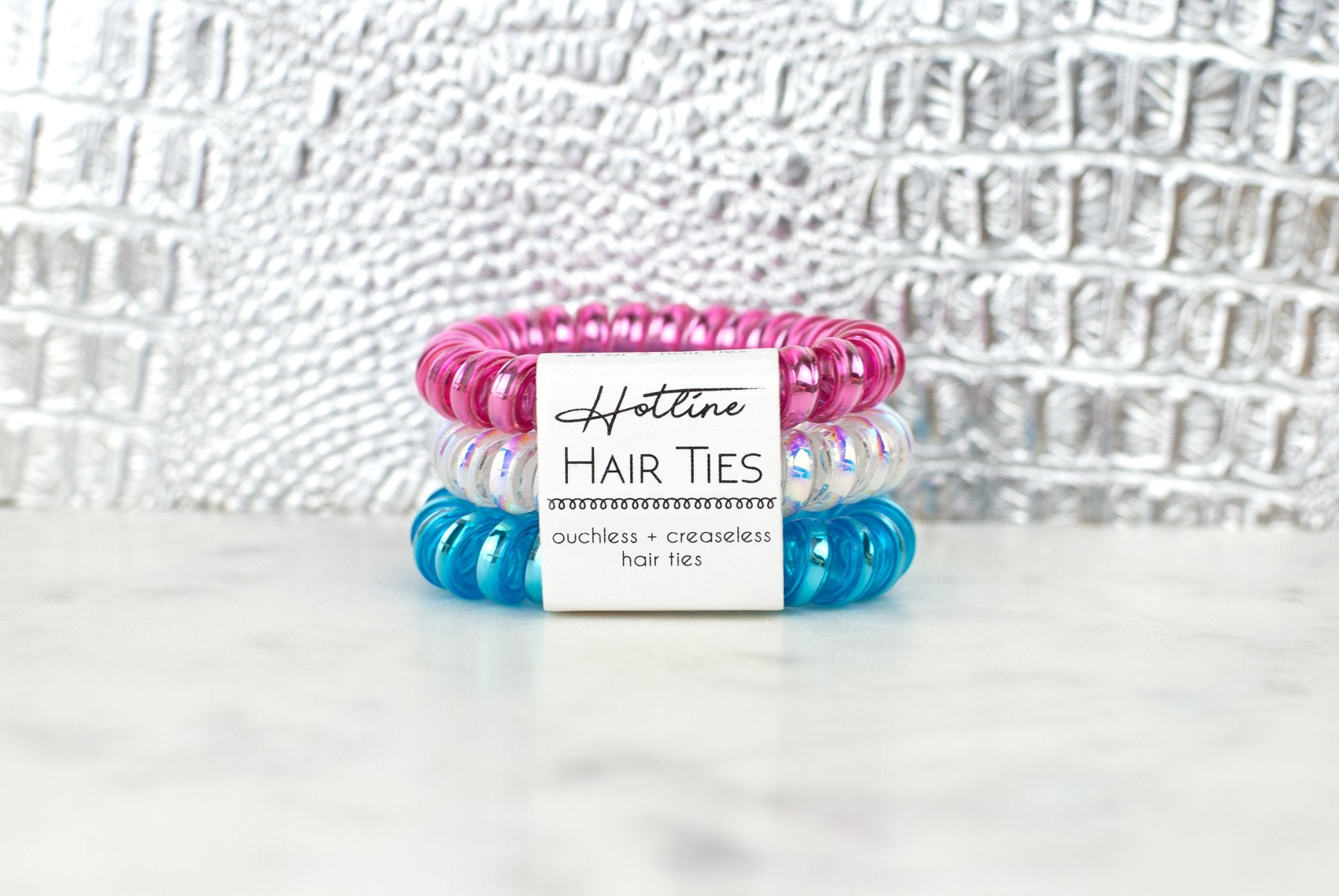 Pink White and Blue Hair Tie Set