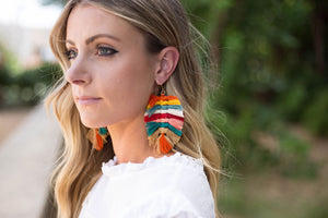 Rainbow Macrame Leaf Earrings
