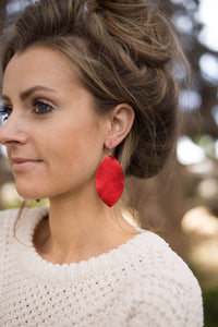 Red Shiny Marquis Leather Earrings
