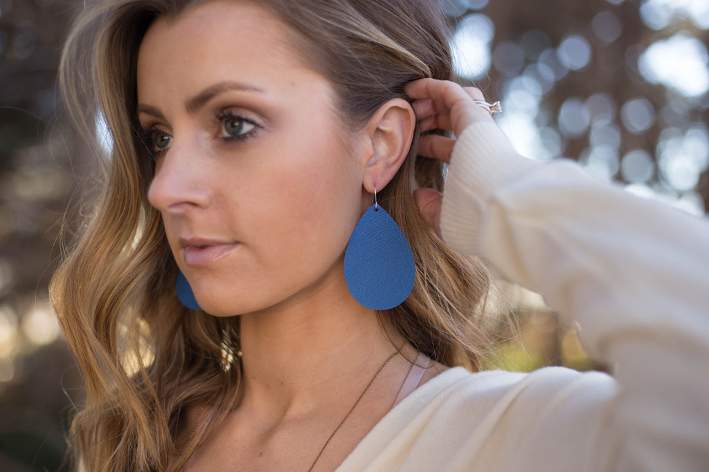 Blue Cobalt Saffiano  Leather Teardrop Drop Earrings