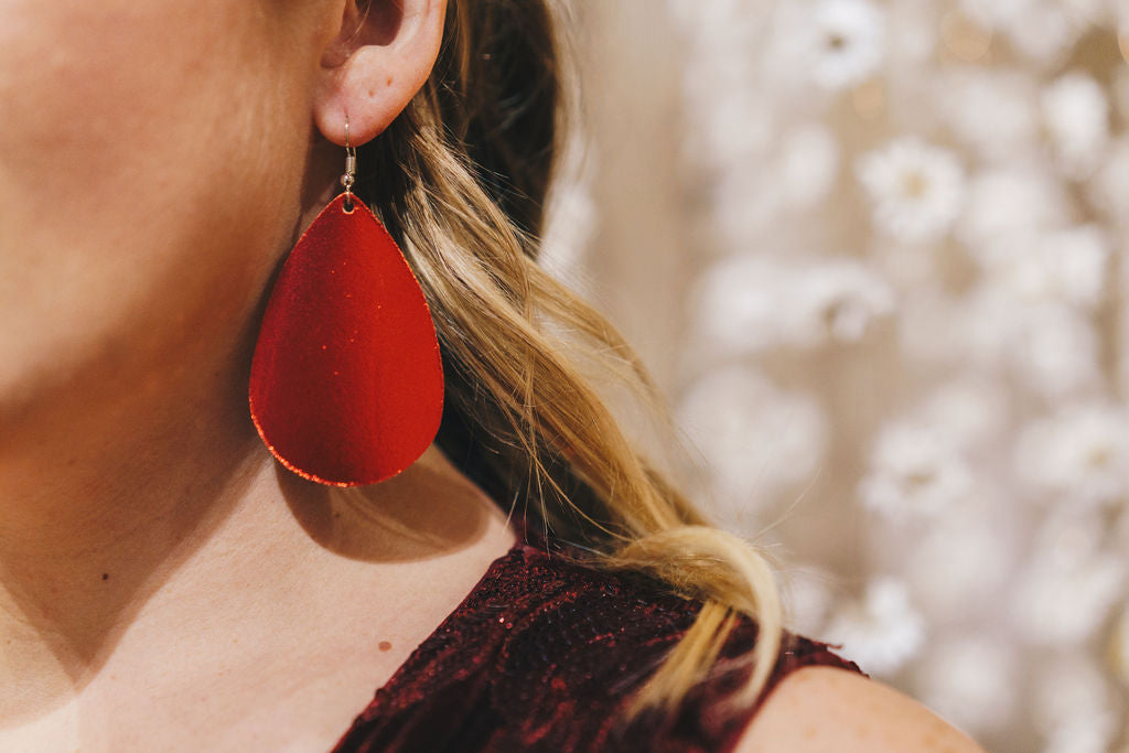 Red Shiny Metallic Leather Teardrop Drop Earrings