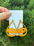 Pumpkin Wood Teardrop Earrings