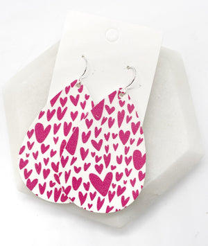 Pink Heart Leather Earrings