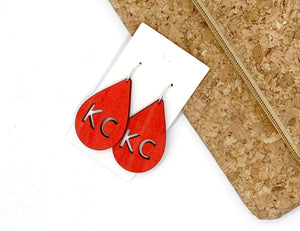 Red KC Chiefs Wood Teardrop Earrings