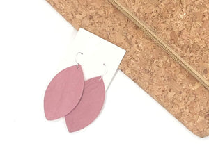 Dusty Rose Marquis Leather Earrings