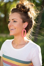 Cappuccino Loop Leather Earrings