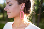 Red Loop Leather Earrings