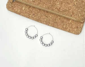 Silver Wood Hoop Earrings