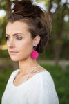 Magenta and Green Disc Post Earrings