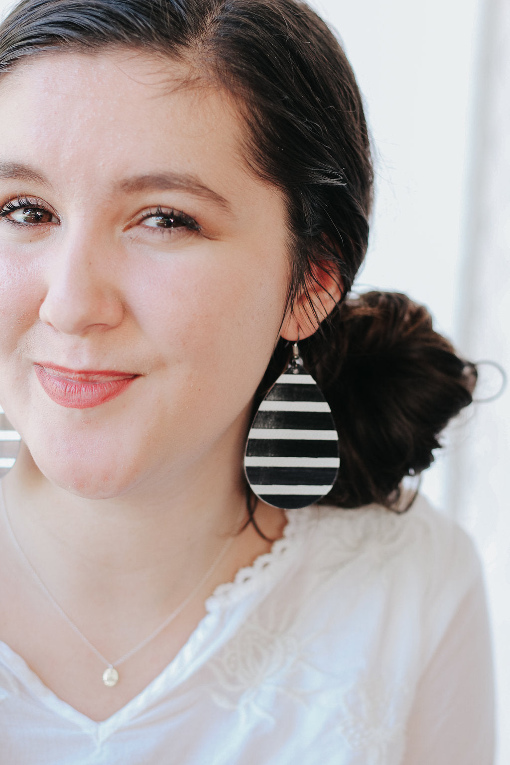 Black and White Stripe Teardrop Earrings