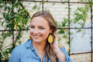 Mustard Yellow Saffiano Leather Teardrop Drop Earrings