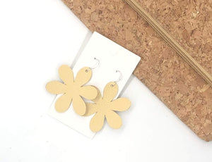 Yellow Blossom Leather Earrings