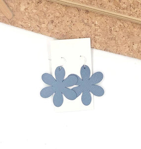 Chambray Blossom Leather Earrings