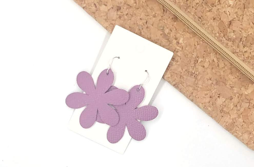 Lilac Blossom Leather Earrings
