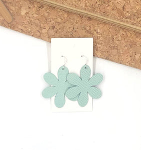 Mint Blossom Leather Earrings