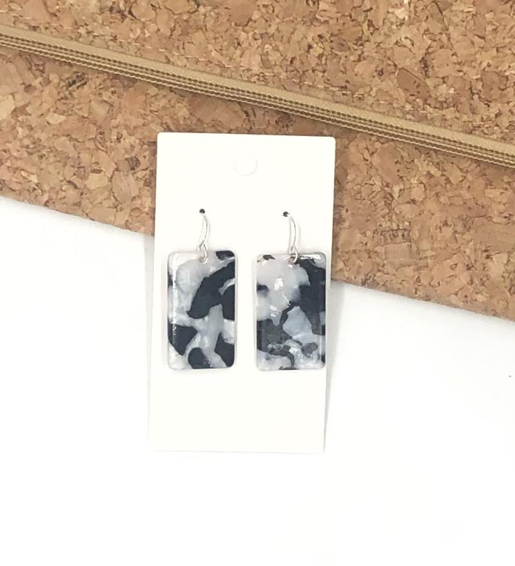 Black and White Recdangle Acrylic Earrings