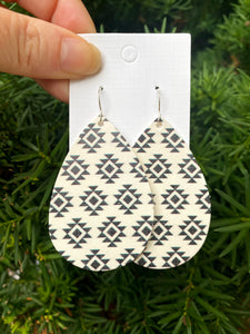 Monochrome Aztec Leather Teardrop