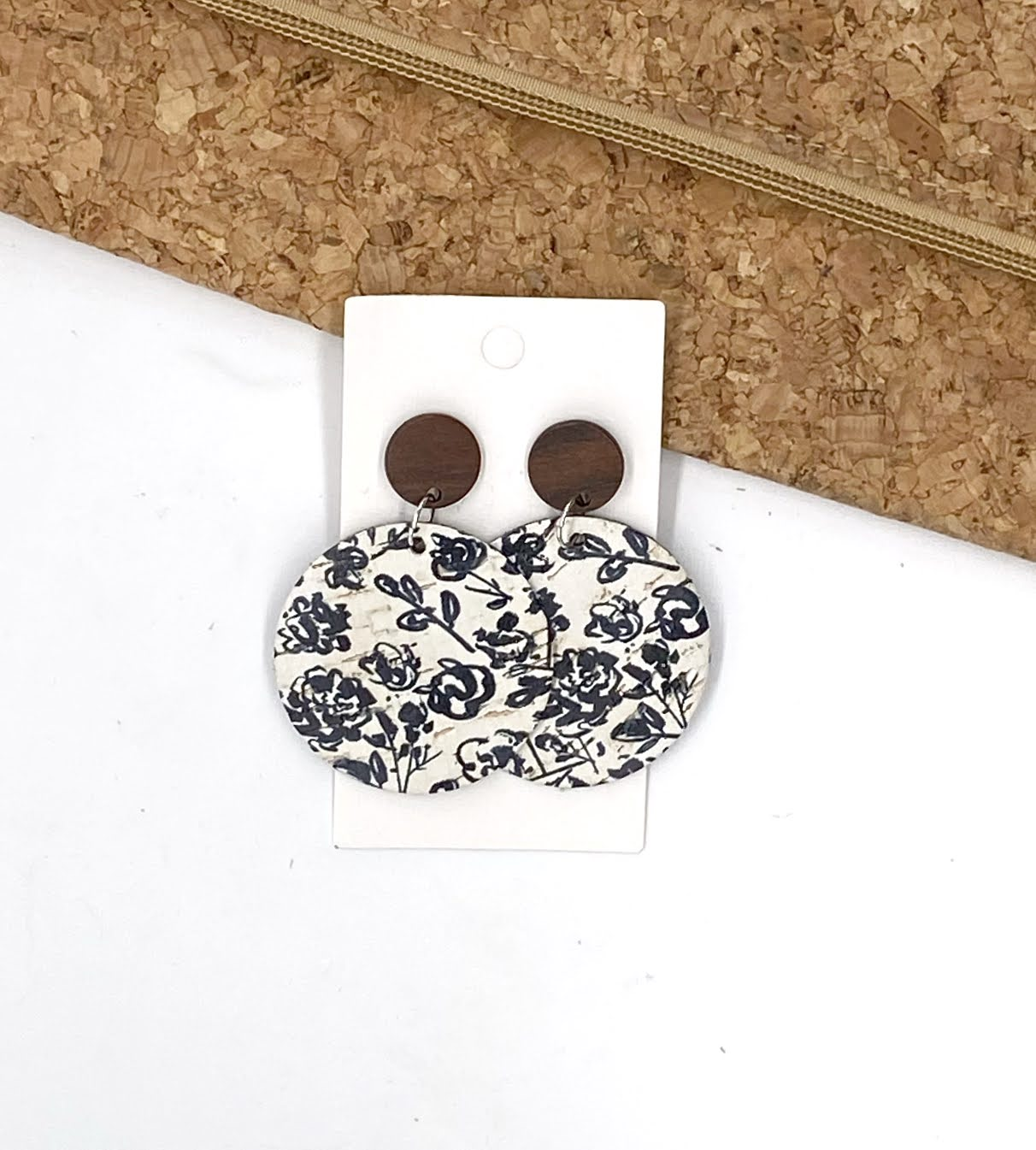 Black and White Floral Corkleather Disc Earrings Posts
