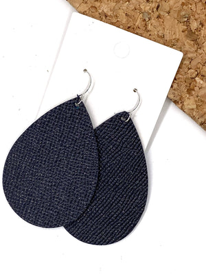 Navy Blue Shimmer Leather Teardrop Earrings
