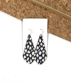 Black and White Spotted The Em Cork Bonded to Leather Earrings