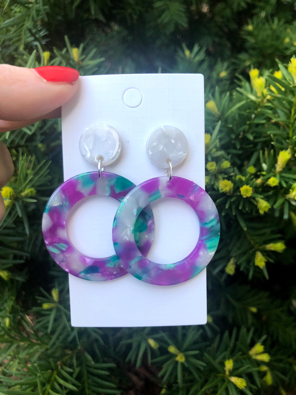 Purple and Green Hoop Acrylic Earrings
