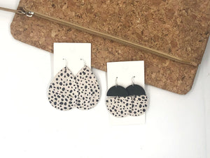White Spotted Leather And Wood Deco Drops