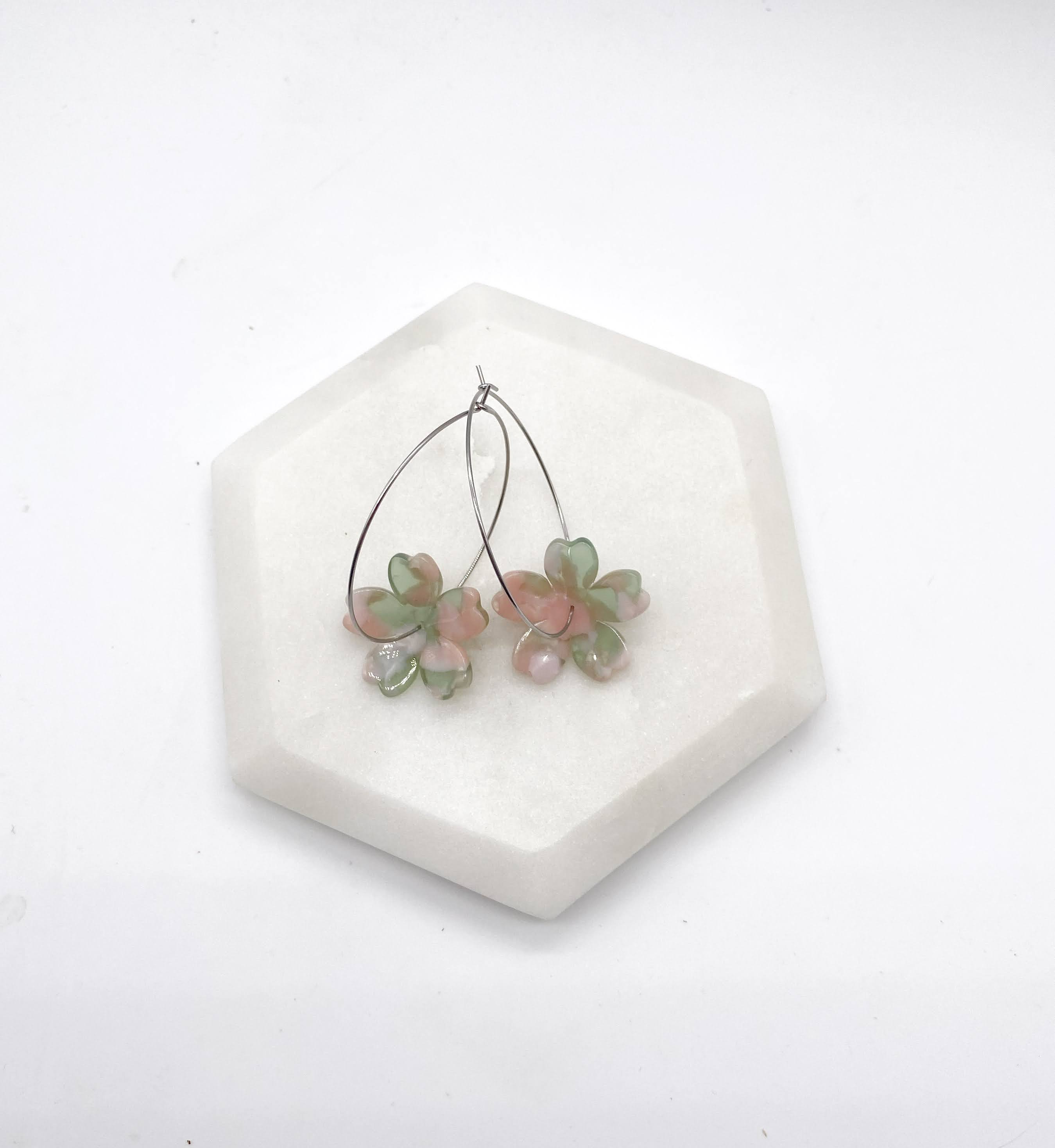 Pastel Blossom Hoop Earrings