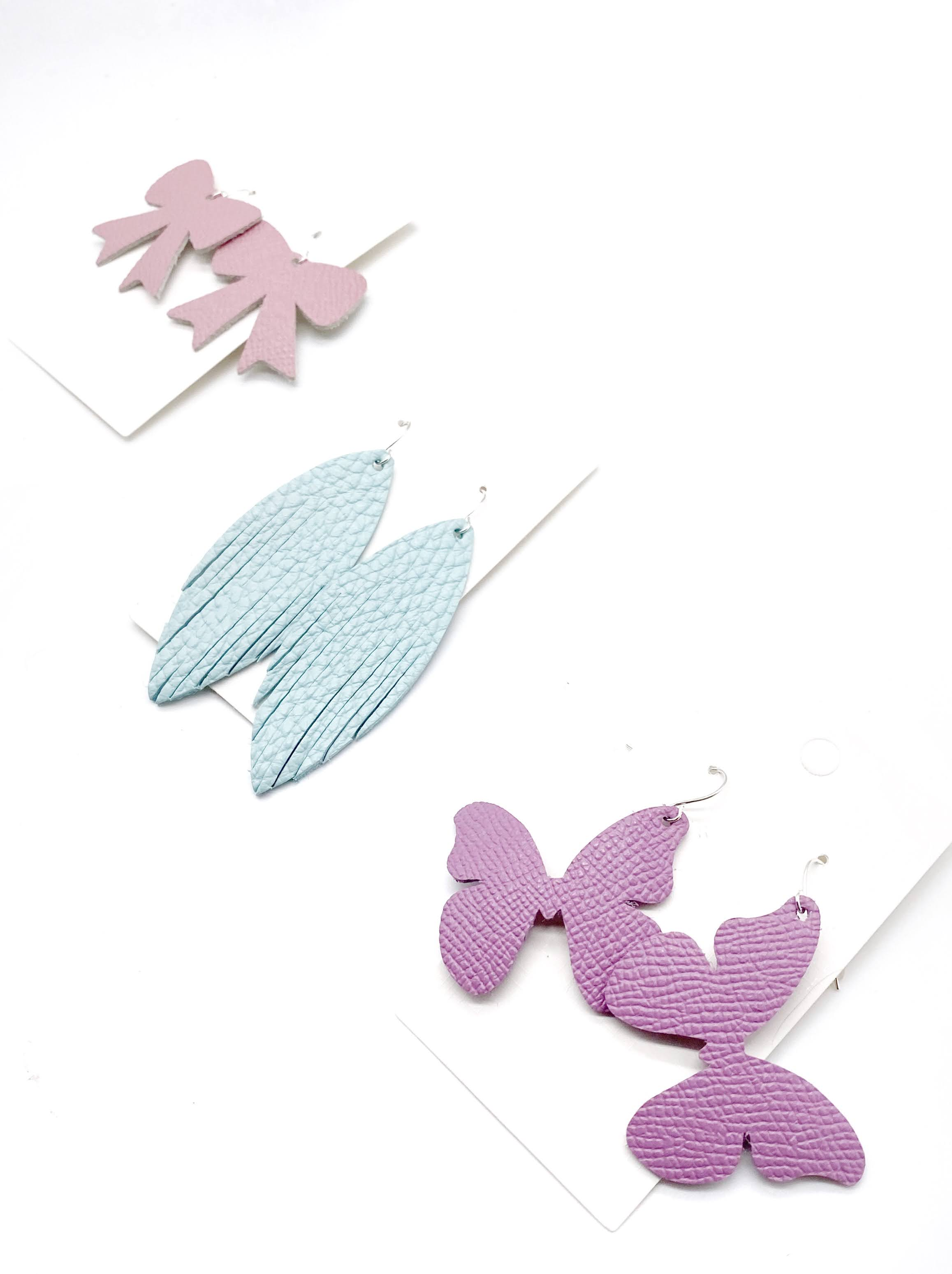 Lilac Butterfly Leather Earrings